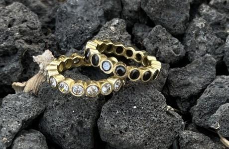 טבעת בראס משובצת זירקונים