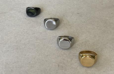 טבעת חותם עגולה בכסף , שחור או זהב