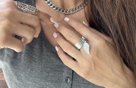 טבעת כנף רחבה  בגוון מט