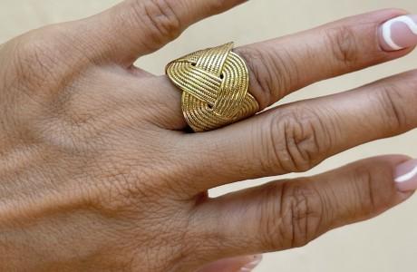 טבעת צמה רחבה בכסף או בבראס