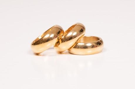 סט טבעות זהב עגולות