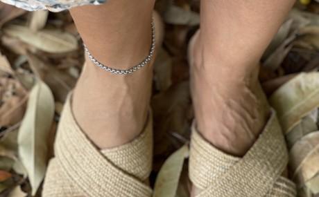 צמיד רגל עגול , צמיד כסף עמיד במים , מאיה אהרוני תכשיטים