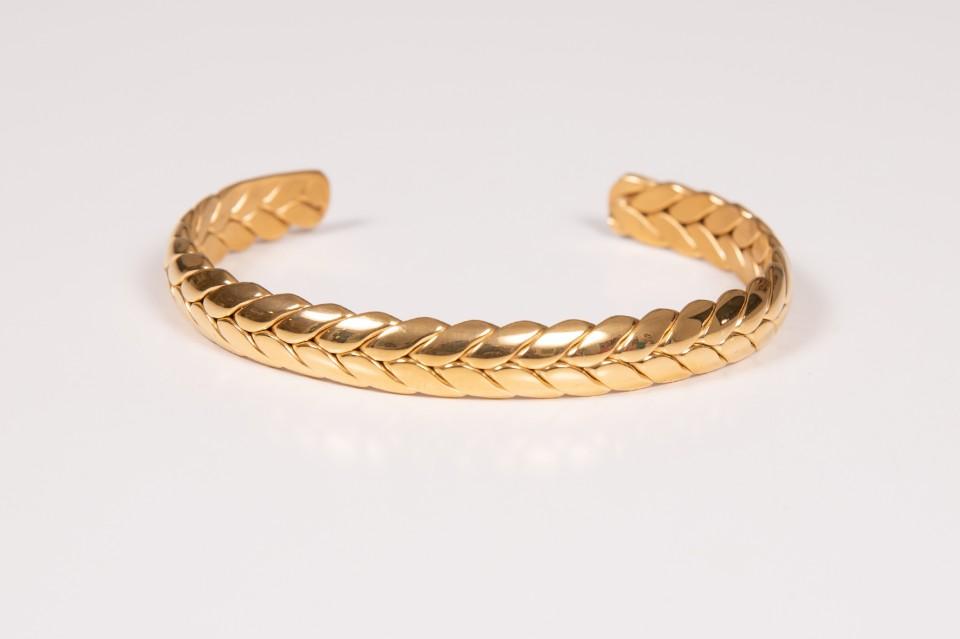 צמיד זהב צמה פתוח מאיה אהרוני