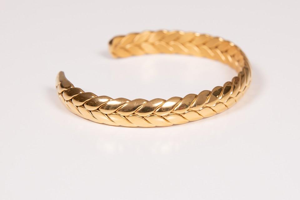 צמיד צמה זהב מבריק פתוח מאיה אהרוני